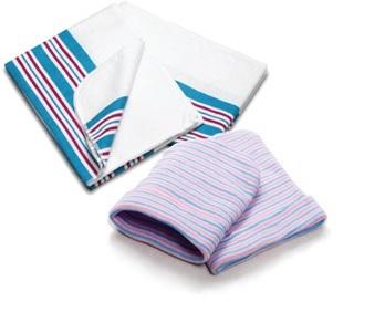 Babymuts blauw/roze gestreept ST